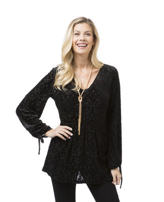 Women's black velvet tunic top