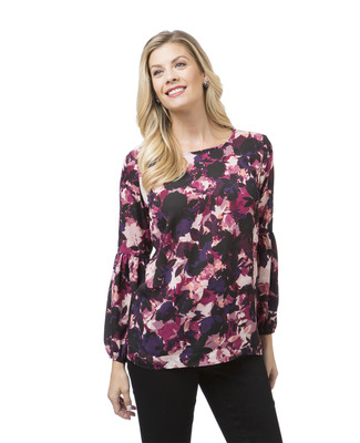 Women's puff sleeve floral blouse