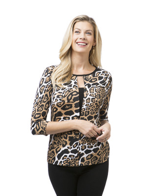 Women's animal print top with keyhole detail