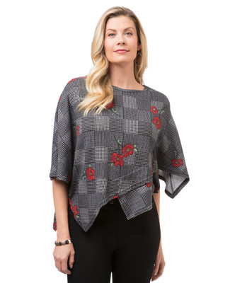Women's Checkered Cape Style Top