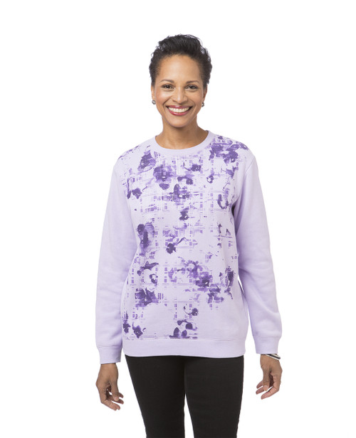 Women's purple print fleece sweatshirt