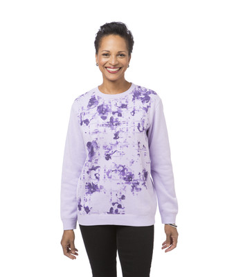 Women's purple print fleece sweatshirt