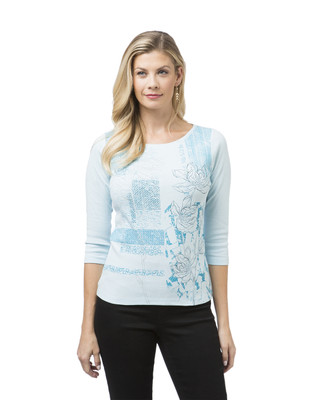 Women's Petite Floral Boat Neck Tee