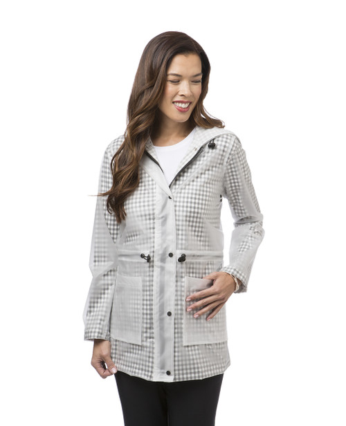 Women's grey gingham raincoat
