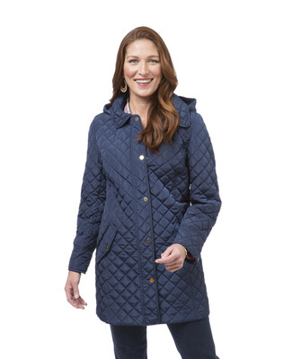 Women's blue quilt jacket with hood