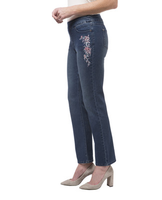 Women's embroidered stretch jeans