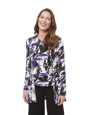 Women's purple geometric print topper