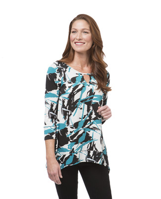 Women's teal geometric print tunic top