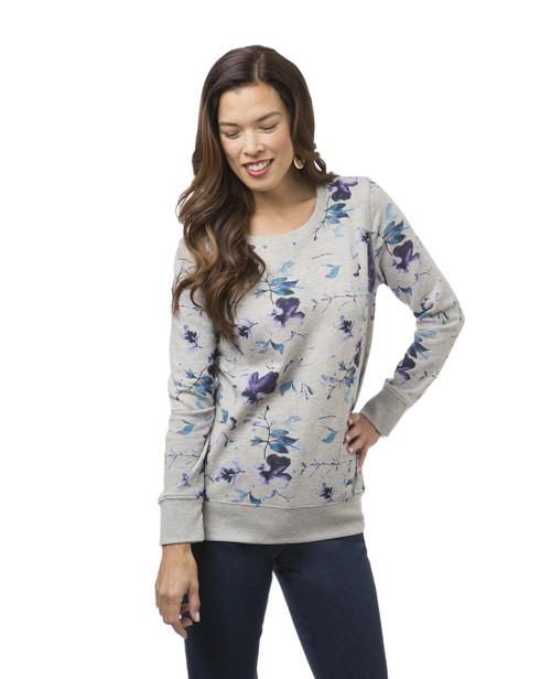 Women's grey floral print sweatshirt