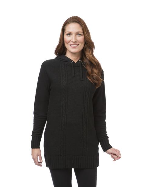 Women's black fleece tunic sweater