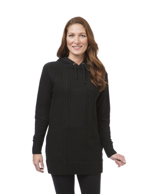 Women's black fleece tunic sweater