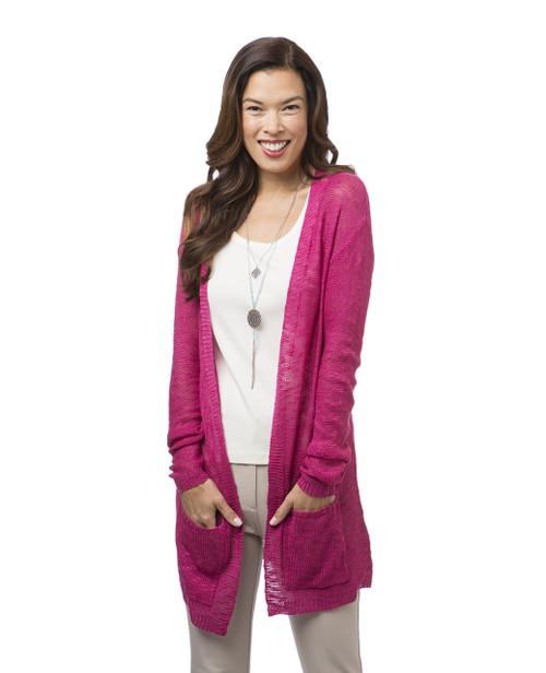 Women's pink long cardigan