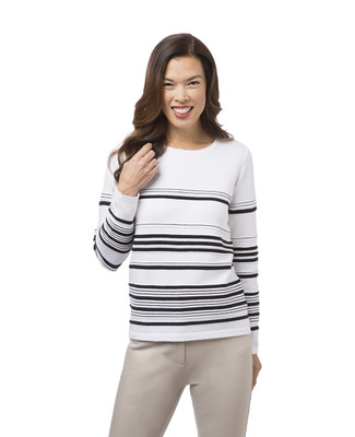 Women's white striped crew neck top