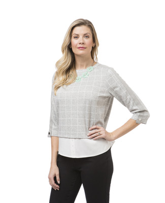 Women's grey windowpane print top