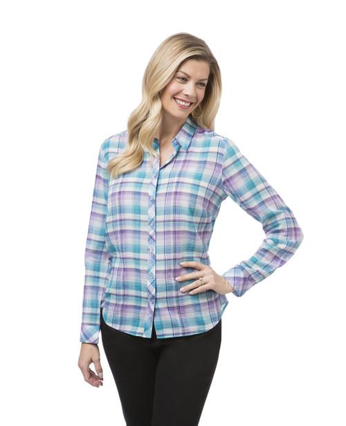 Women's teal plaid shirt