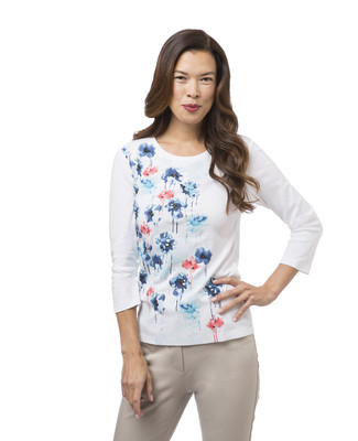 Women's white floral print tee