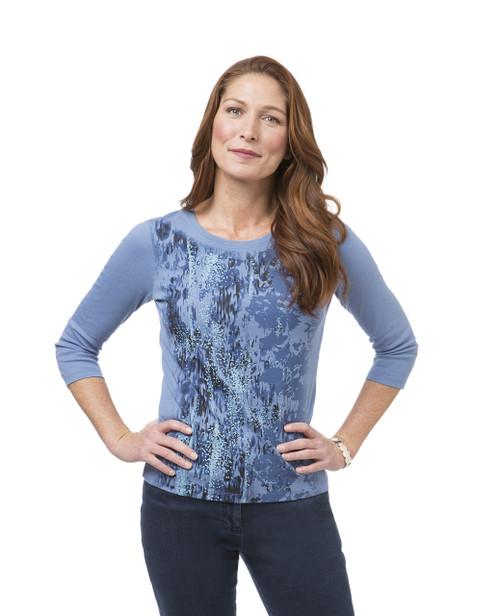 Women's blue three-quarter sleeve print tee