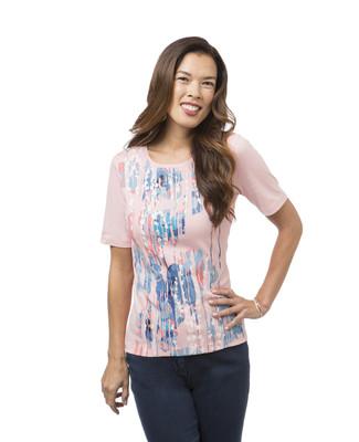 Women's coral spring splash print crew neck tee