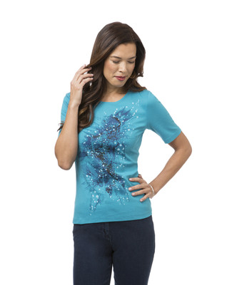 Women's Spring Splash Blue Crew Neck Tee