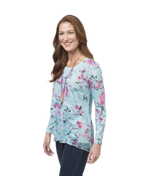 Women's aqua long sleeve floral print top