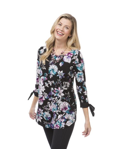 Women's black floral print tunic top