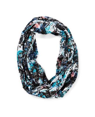 Women's black print infinity scarf