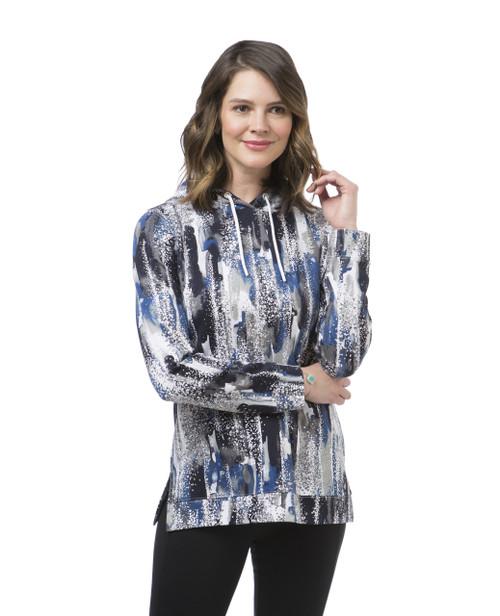 Women's blue printed popover hoodie
