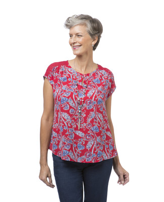 Women's petite red floral popover