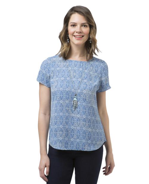 Women's short Sleeve Popover Blouse