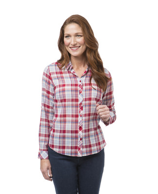 Women's red plaid shirt