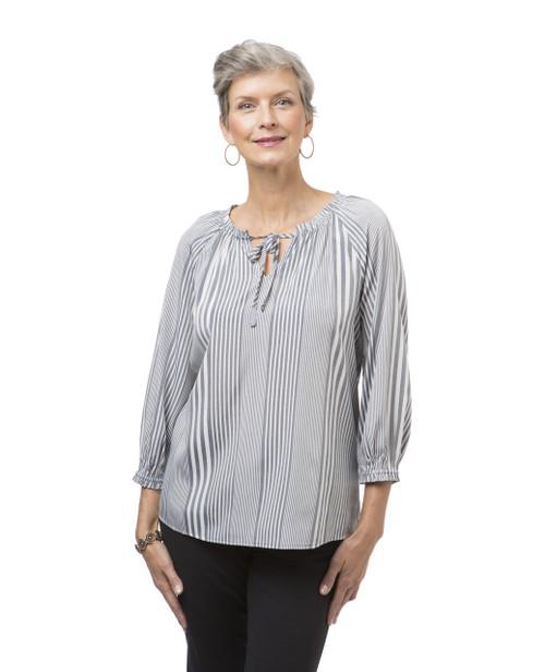 Women's navy long sleeve peasant blouse