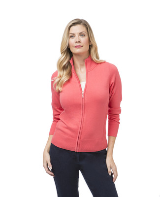 Women's zip-front cardigan