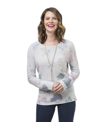Women's grey floral print pullover