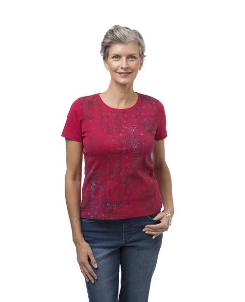Women's petite red printed crew neck tee