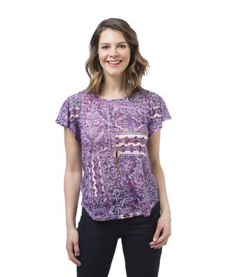Women's pink printed short sleeve tee