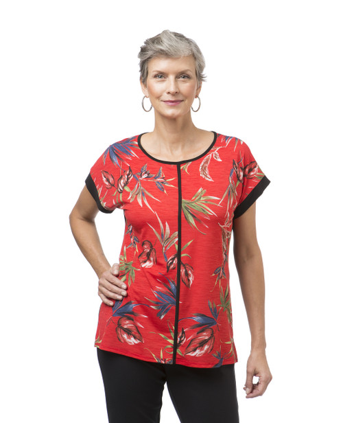 Women's red printed top