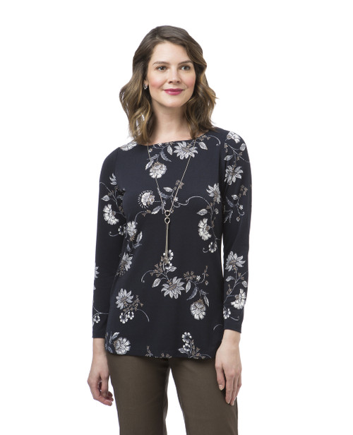 Women's petite navy floral print top