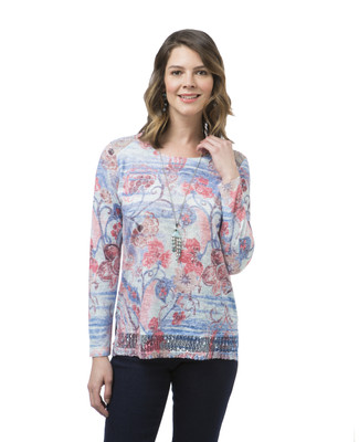 Women's long sleeve floral print top