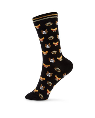 Women's dog print cotton blend crew socks