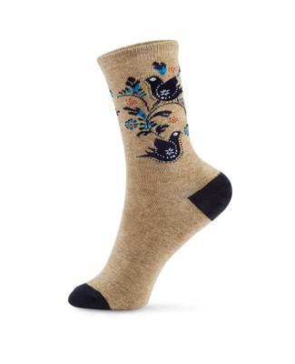 Women's printed cotton blend crew socks