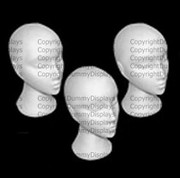Styrofoam head x3 set of three female display heads