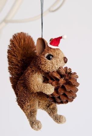 Christmas Squirrel.Squirrel Brown Sitting Bristlebrush Christmas Tree Ornament 13cm
