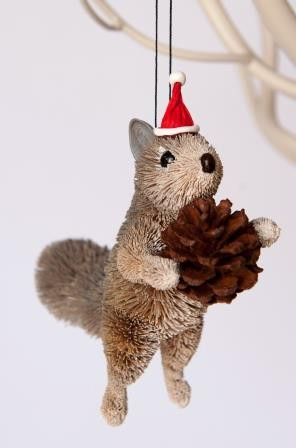 Christmas Squirrel.Squirrel Grey Standing Christmas Tree Ornament