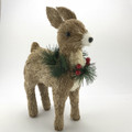 Christmas Deer with Wreath - 33cm tall  Beautifully Designed and Hand Crafted Bristlestraw Deer