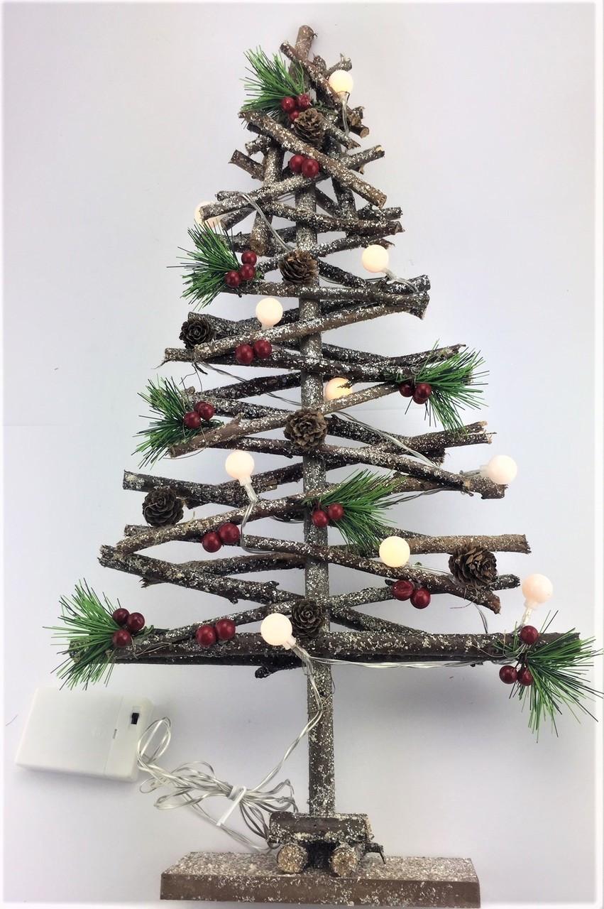 Christmas Tree With Lights.Driftwood Christmas Tree With Lights 60cm Christmas Decoration