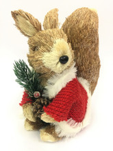 Beautifully Designed and Hand Made Christmas Squirrel Wearing Knitted Jumper - 22cm