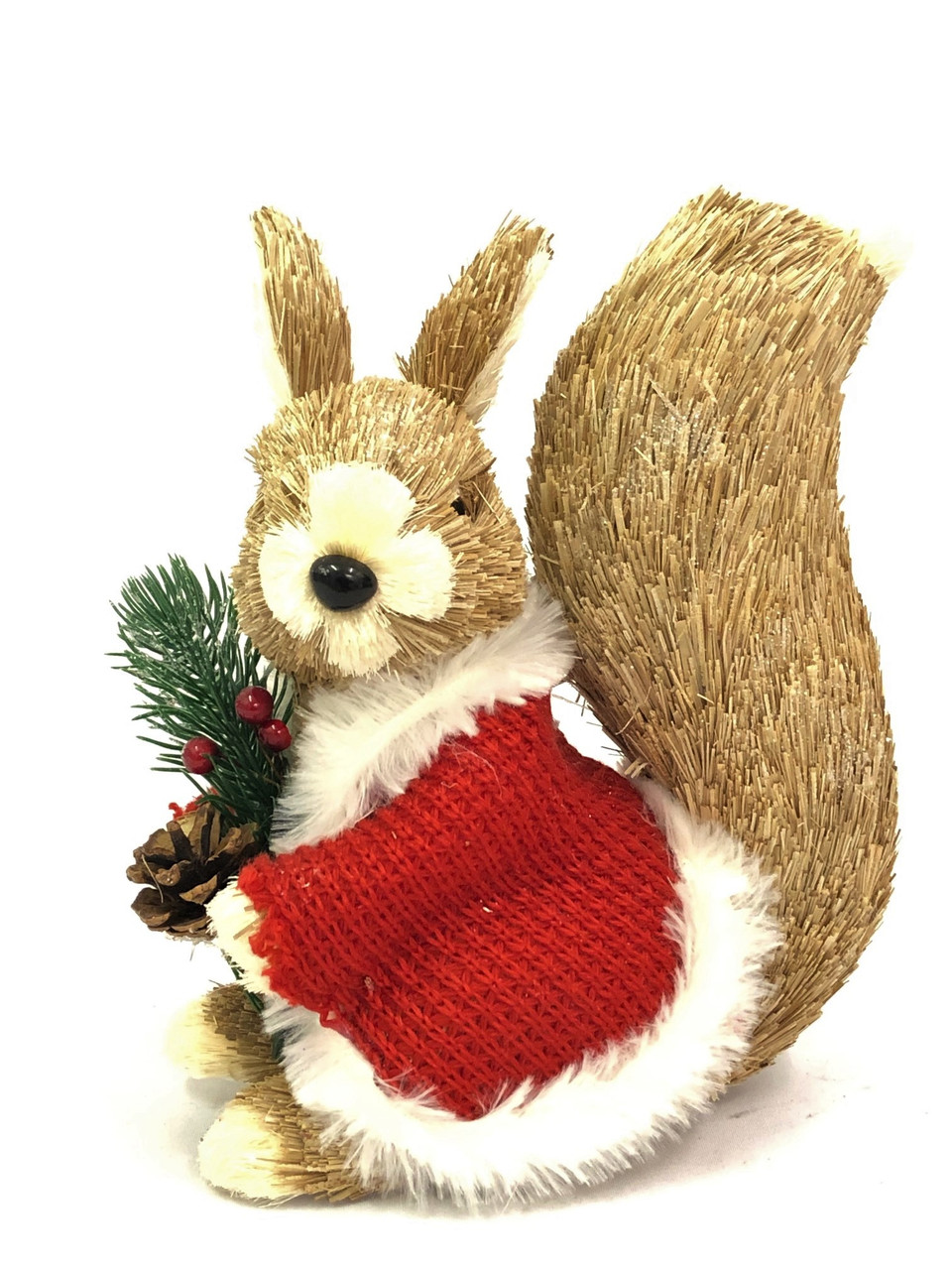 Christmas Squirrel.Christmas Squirrel With Red Jumper 22cm Bristlestraw Christmas Decoration