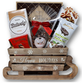 This rustic, wooden sleigh is packed with cookies, chocolates and candy.