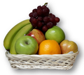 red and green apples, oranges, bananas and grapes