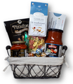 Pasta and red sauce, bread sticks, antipasto, chocolates, cookies and truffles.
